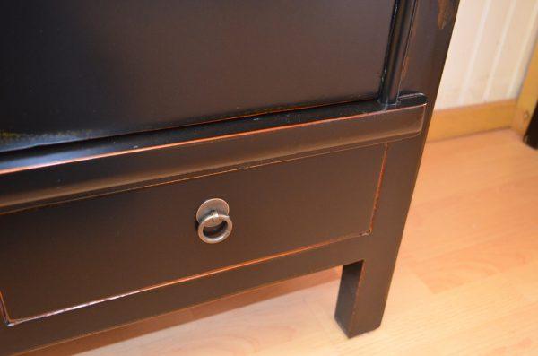 Armoire chinoise noire 170 cm avec tiroirs