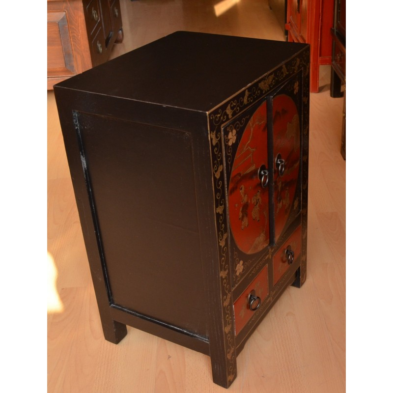 Meuble laqu noir rouge la malle d 39 asie Petit meuble rouge laque