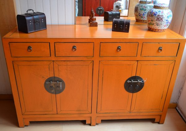 meuble chinois orange
