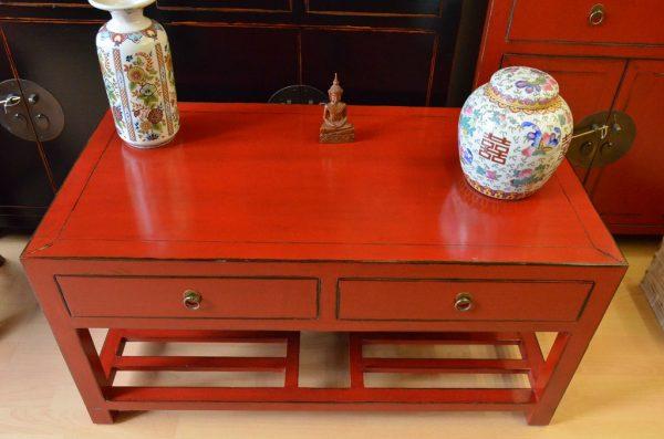 Table basse asiatique rouge plateau avant