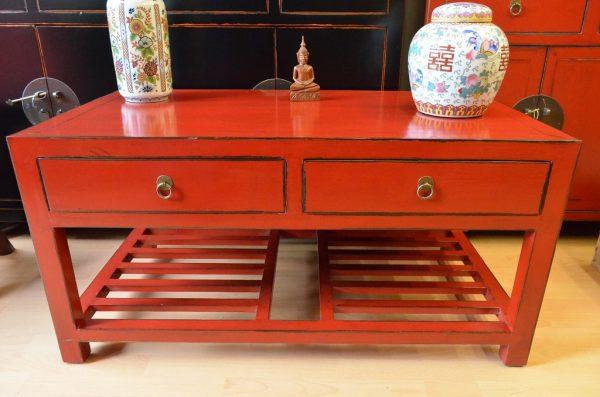 Table basse asiatique rouge face avant