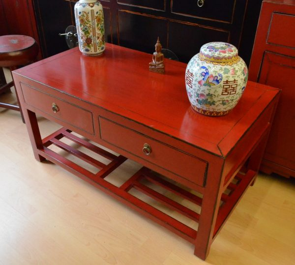 Table basse asiatique rouge droit