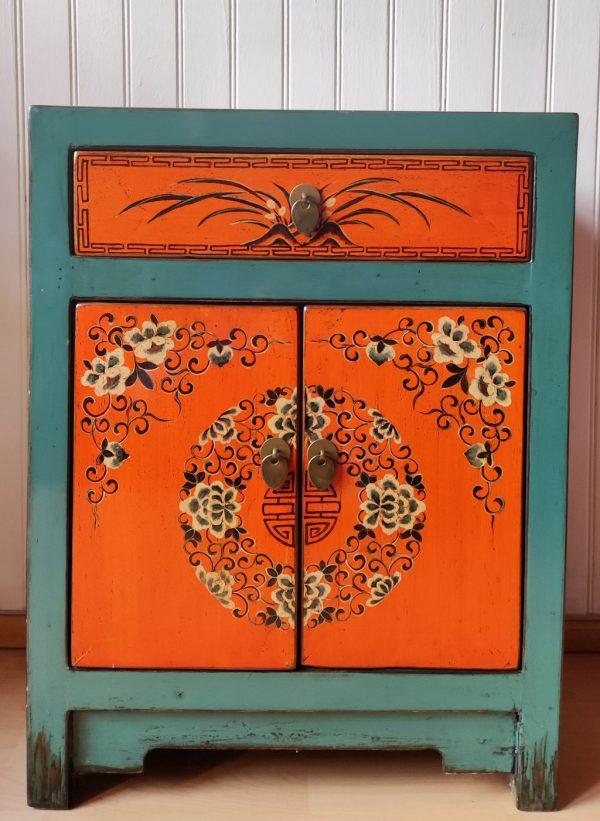petit meuble chinois vert orange