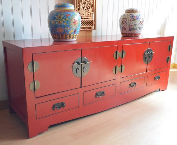 buffet chinois rouge sang 140 cm