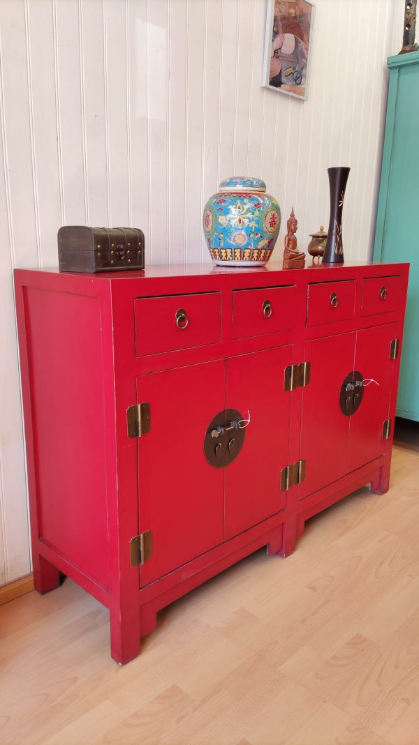 Buffet rouge chinois 145cm vue G