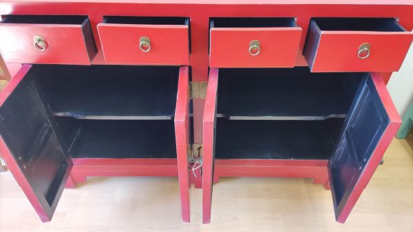 buffet rouge chinois 145cm ouvert