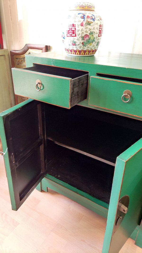 bahut chinois vert portes et tiroirs