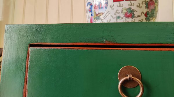 bahut chinois vert angle tiroir