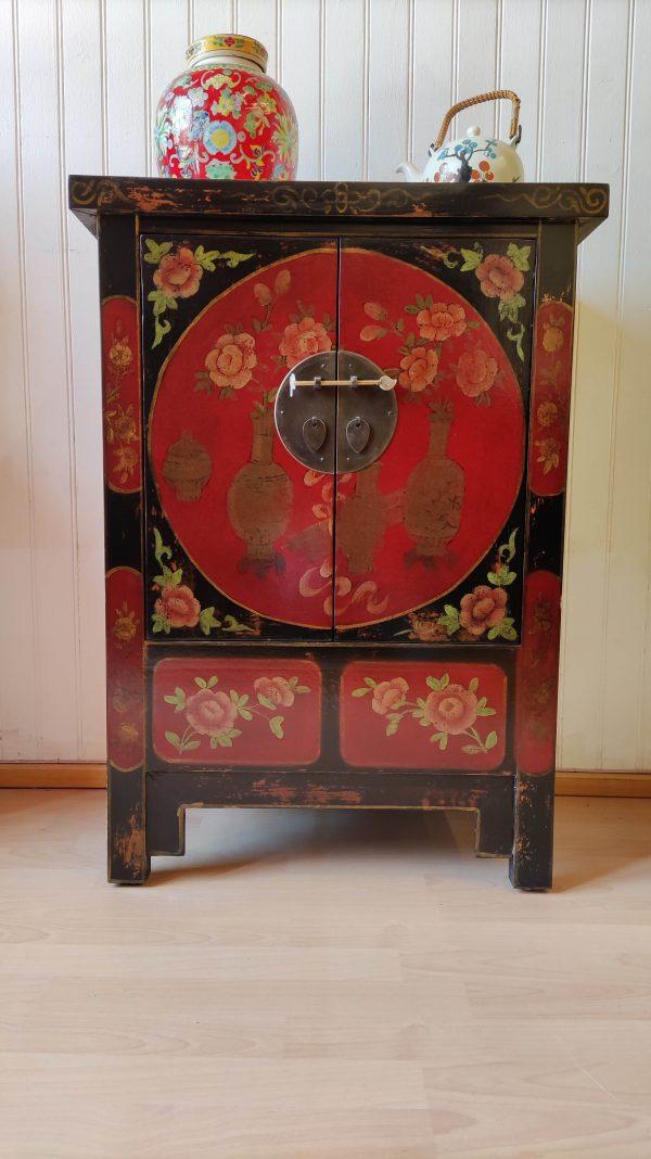 Rangement chinois 85 cm noir décoré de face