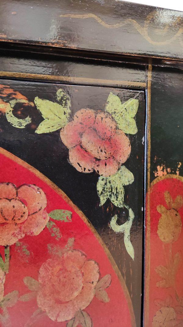 Rangement chinois 85 cm noir décoré de fleurs et son angle porte