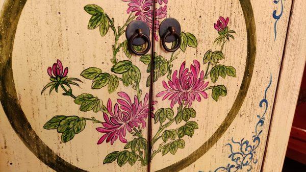 meuble chinois crème fleurs fleurs 2 portes